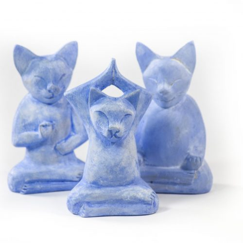 Yoga Cats Wooden Statues mini at Gaia-Center in Cyprus.