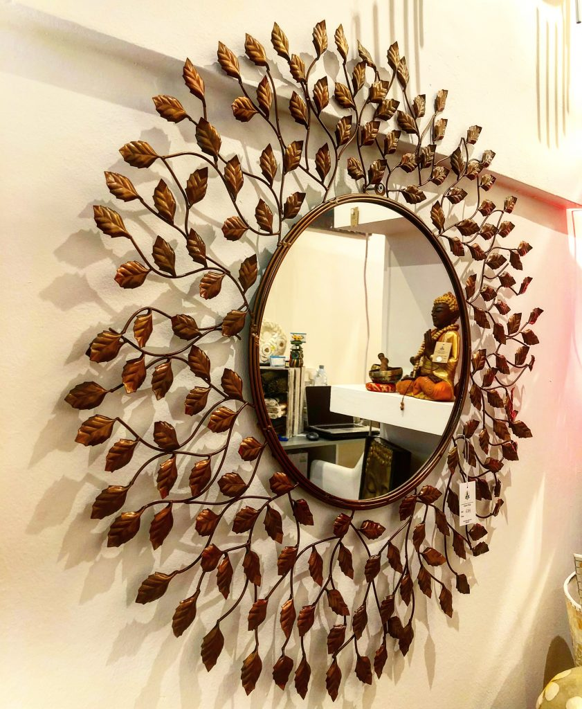 Metal leaf mirror design
