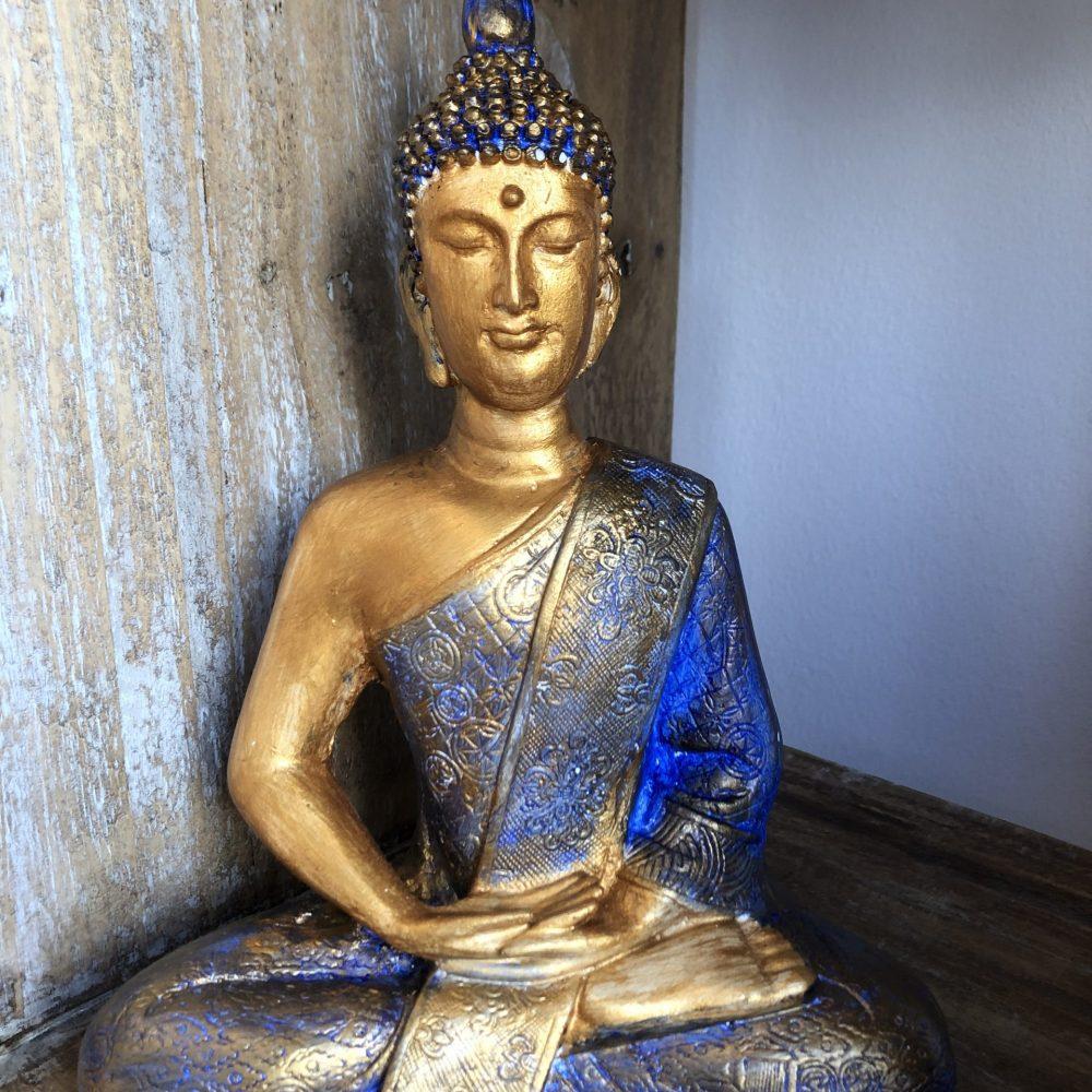 Statue of MediStatue of Meditating Sitting Buddha, blue colour. Gaia-Center Shop in Cyprustating Sitting Buddha. Gaia-Center Shop in Cyprus