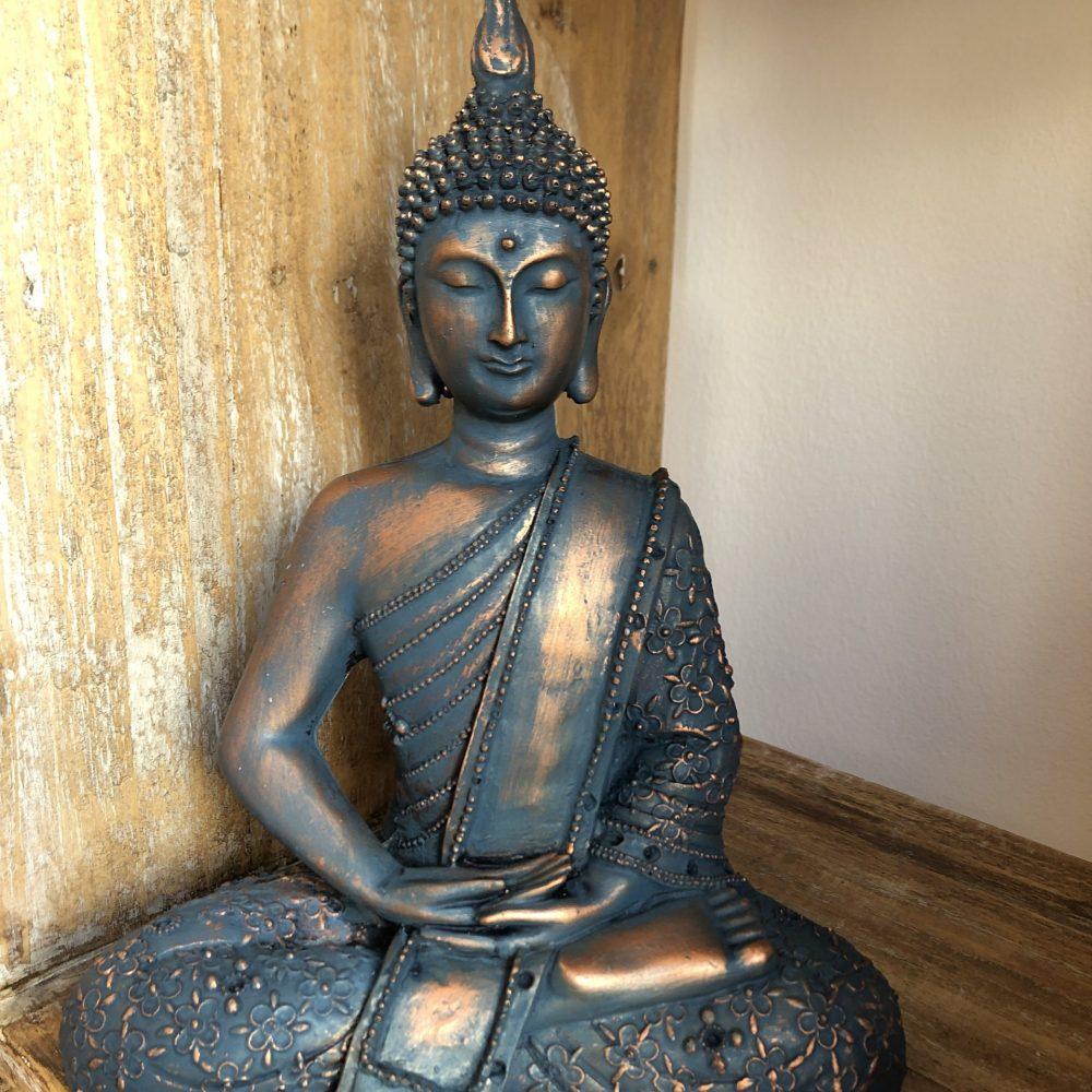 Statue of Meditating Sitting Buddha. Gaia-Center Shop in Cyprus