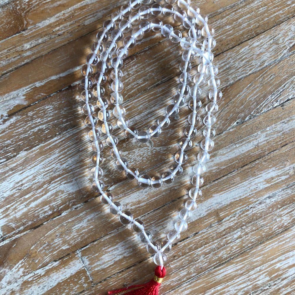 108 beads Clear Crystal Quartz Japa mala by Gaia-Center Shop in Cyprus