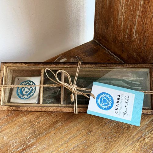 Incense Set with Incense holder for Throat Chakra at Gaia Center in Cyprus.