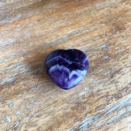 Gemstones and Crystals section. Amethyst stone heart at Gaia Center in Cyprus.