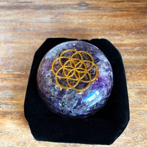 Orgonite Power Dome amethyst gemstones at Gaia-Center in Cyprus.