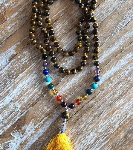 Gemstone Mala Tigers Eye Stone at Gaia-Center in Cyprus.