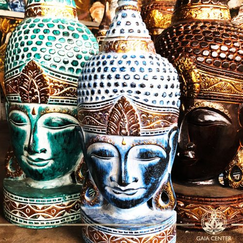 Buddha Statue Face set in turquoise, blue, brown and gold colors. Spiritual items at Gaia Center in Cyprus. Cyprus and International Shipping.