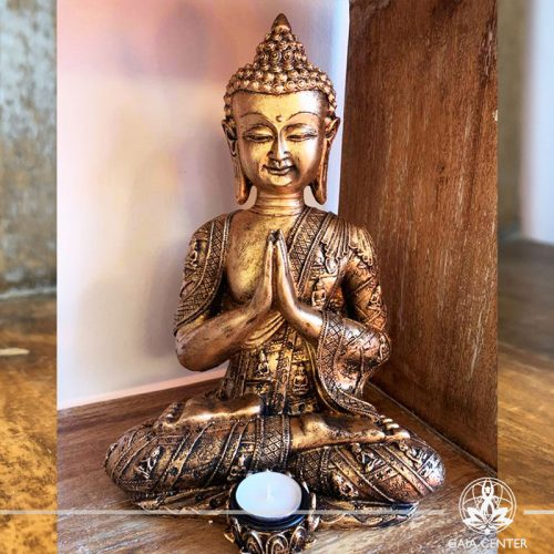 Buddha Statue Thai sitting - candle holder - antique gold color. Spiritual items at Gaia Center in Cyprus. Cyprus and International Shipping.