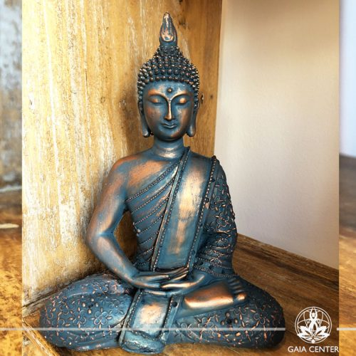 Buddha Statue sitting - antique blue color finishing. Spiritual items at Gaia Center in Cyprus. Cyprus and International Shipping.