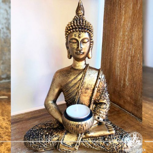 Buddha Statue sitting - candle holder - antique gold color. Spiritual items at Gaia Center in Cyprus. Cyprus and International Shipping.