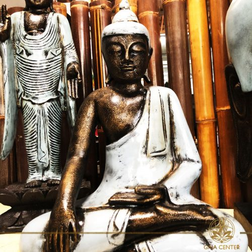 Buddha Statue in creamy glossy colors. Spiritual items at Gaia Center in Cyprus. Cyprus and International Shipping.