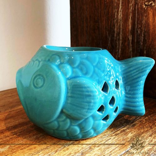 Essential Oil burner Blue fish Ceramic. Gaia-Center Shop in Cyprus.