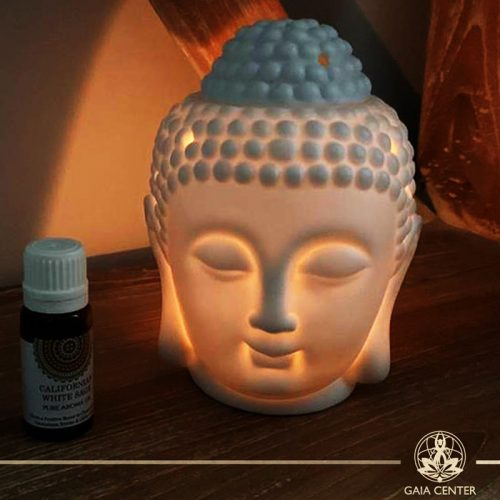 Essential Oil burners White Buddha Head Ceramic. Gaia-Center Shop in Cyprus.