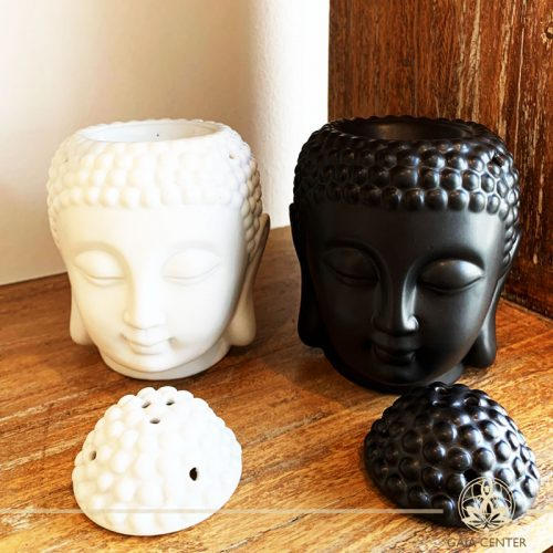 Essential Oil burners White and Black Buddha Head Ceramic. Gaia-Center Shop in Cyprus.