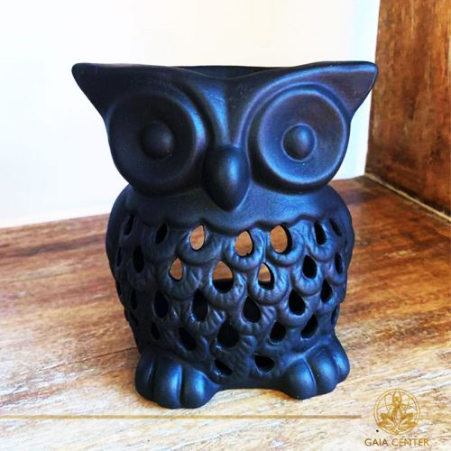 Owl Black Ceramic Essential Oil burner. Gaia-Center Shop in Cyprus.