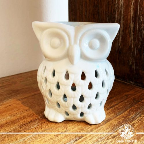 Owl White Ceramic Essential Oil burner. Gaia-Center Shop in Cyprus.