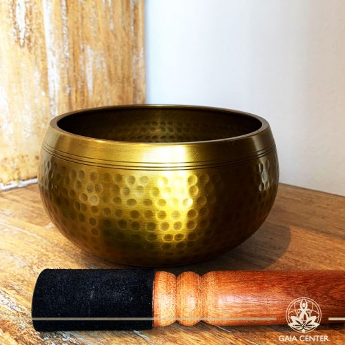 Tibetan Singing Bowl hand beaten with a wooden stick at Gaia Center in Cyprus. Cyprus and International shipping.