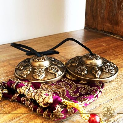 Tibetan metal tingshas at Gaia Center in Cyprus. Selection of singing bowls and tinghas. Cyprus and International shipping.