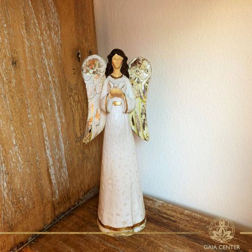 Angel of Peace Statue - antique gold and white color finishing. Spiritual items at Gaia Center in Cyprus. Order online: https://www.gaia-center.com Cyprus and International Shipping.