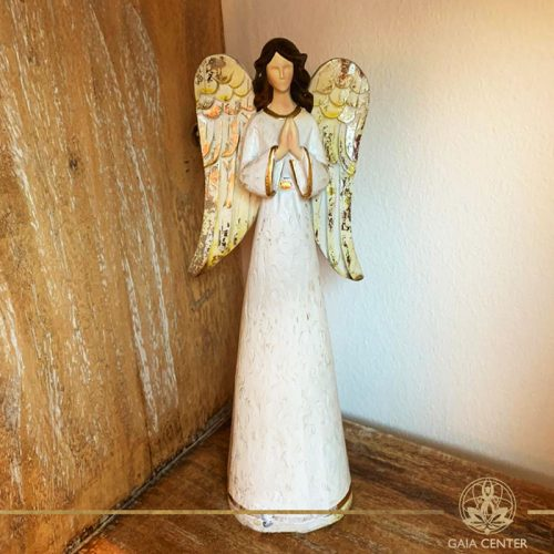 Angel of Prayer Statue - antique gold and white color finishing. Spiritual items at Gaia Center in Cyprus. Order online: https://www.gaia-center.com Cyprus and International Shipping.