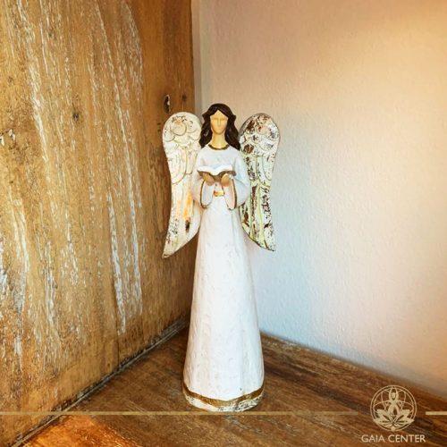 Angel of Wisdom Statue - antique gold and white color finishing. Spiritual items at Gaia Center in Cyprus. Order online: https://www.gaia-center.com Cyprus and International Shipping.