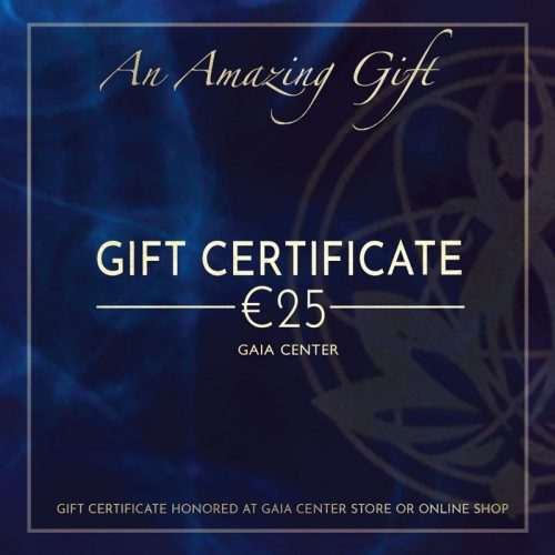 Gift Certificate 25 EUR value to purchase products and services by Gaia Center. Shop online or visit our store in Cyprus.