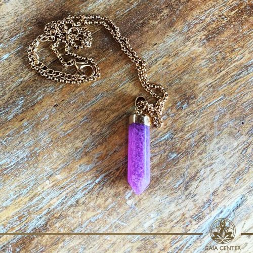 Amethyst pendant at Gaia Center in Cyprus. Gemstone and crystal pendants selection.