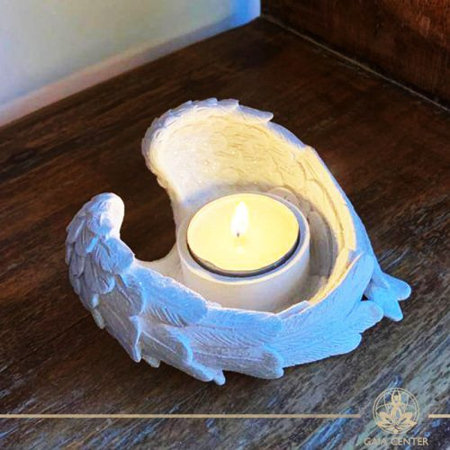 Angel wings heart shape candle holder at Gaia-Center in Cyprus. Spiritual and decor gifts order online at: https://gaia-center.com