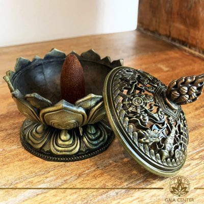 Ash catcher - incense cone burner metal lotus Selection of incense holders and incense burners at Gaia Center in Cyprus. Wholesale and retail options. Cyprus and Worldwide delivery, shop online: https://gaia-center.com