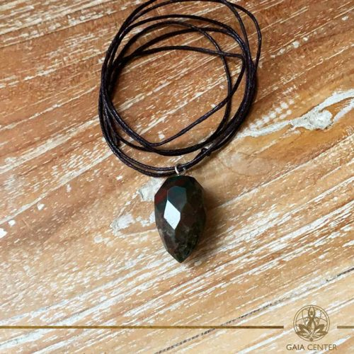 Blood stone faceted cone pendant on a string. Crystal and Gemstone pendants at Gaia Center in Cyprus. Worldwide delivery, shop online: https://gaia-center.com