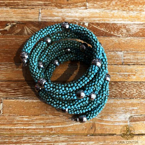 Jewellery items beaded bracelet turquoise color design. Summer essential jewellery at Gaia Center in Cyprus. Shop online at https://gaia-center.com. Cyprus and Worldwide shipping.