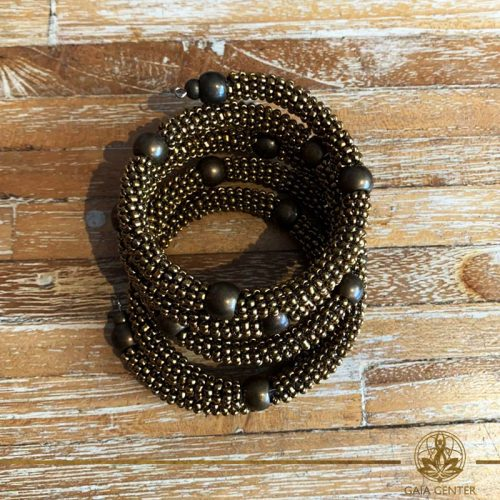 Jewellery items beaded bracelet golden color design. Summer essential jewellery at Gaia Center in Cyprus. Shop online at https://gaia-center.com. Cyprus and Worldwide shipping.