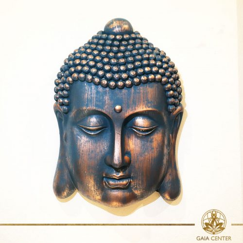 Buddha Head Face wall plaque antique gold and blue color finishing. Spiritual items at Gaia Center in Cyprus. Order online: https://www.gaia-center.com Cyprus and International Shipping.