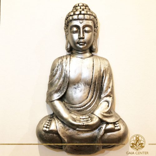 Buddha Meditating wall plaque with antique silver color finishing. Spiritual items at Gaia Center in Cyprus. Order online: https://www.gaia-center.com Cyprus and International Shipping.