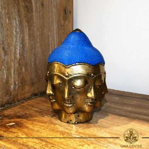 Buddha Head Multi Face - metal base with antique gold and blue color finishing. Spiritual items at Gaia Center in Cyprus. Order online: https://www.gaia-center.com Cyprus and International Shipping.