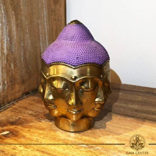 Buddha Head Multi Face - metal base with antique gold and purple color finishing. Spiritual items at Gaia Center in Cyprus. Order online: https://www.gaia-center.com Cyprus and International Shipping.
