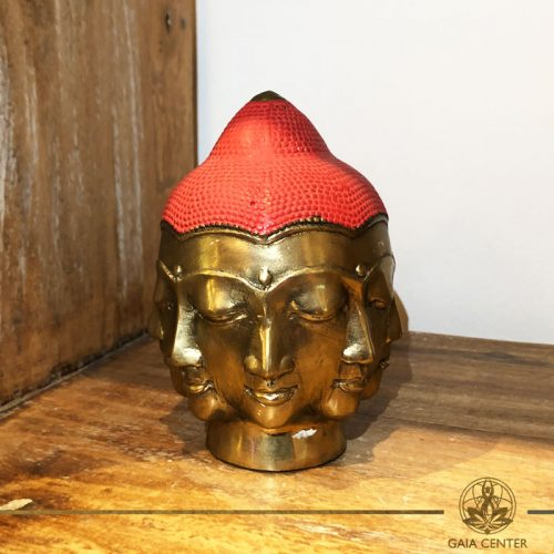 Buddha Head Multi Face - metal base with antique gold and red color finishing. Spiritual items at Gaia Center in Cyprus. Order online: https://www.gaia-center.com Cyprus and International Shipping.