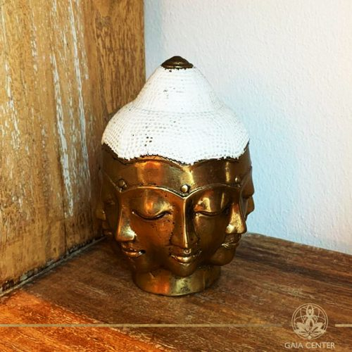 Buddha Head Multi Face - metal base with antique gold and white color finishing. Spiritual items at Gaia Center in Cyprus. Order online: https://www.gaia-center.com Cyprus and International Shipping.