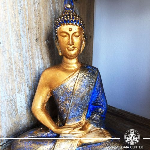 Buddha Statue antique blue and red color finishing. Spiritual items at Gaia Center in Cyprus. Order online: https://www.gaia-center.com Cyprus and International Shipping.