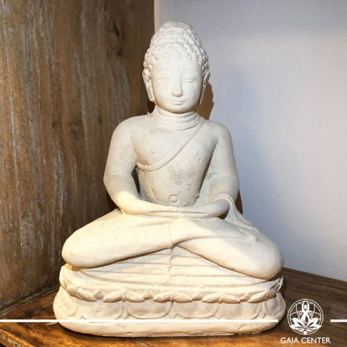 Buddha Statue Meditating - stone with white color finishing. Spiritual items at Gaia Center in Cyprus. Order online: https://www.gaia-center.com Cyprus and International Shipping.