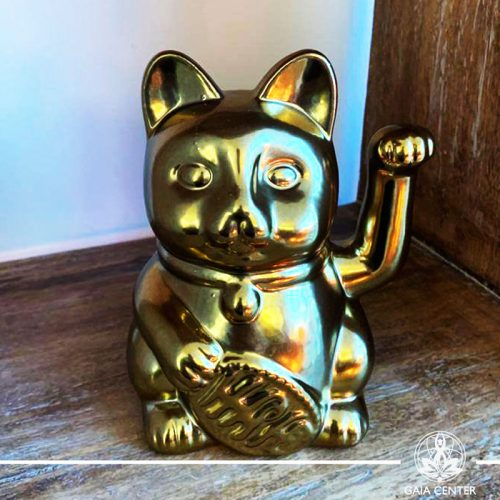 Feng Shui Cat Money Box Gold 16cm at Gaia Center in Cyprus.