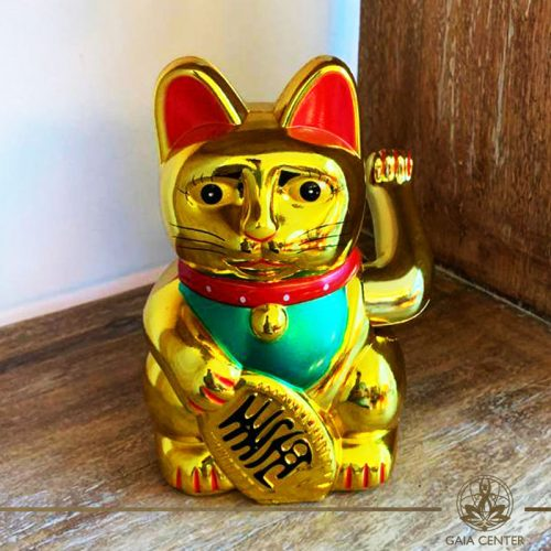 Feng Shui Cat Money Box Gold 6inch with moving beckoning paw at Gaia Center in Cyprus.