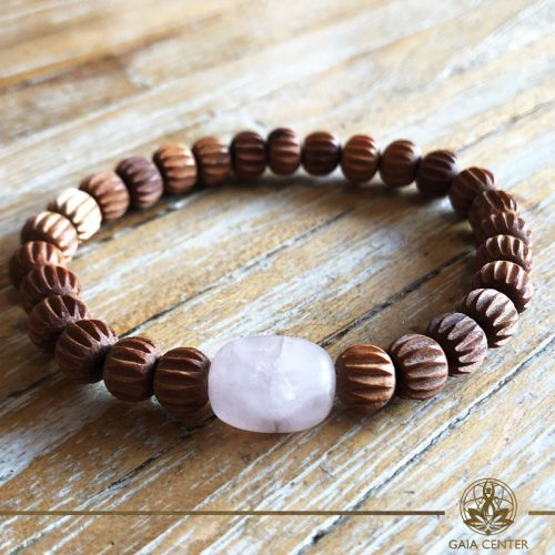 Bracelet Rose Quartz and Sandalwood at Gaia-Center Cyprus. Gemstone and Crystal selection. Shop online at: https://www.gaia-center.com. Cyprus and Worldwide shipping.