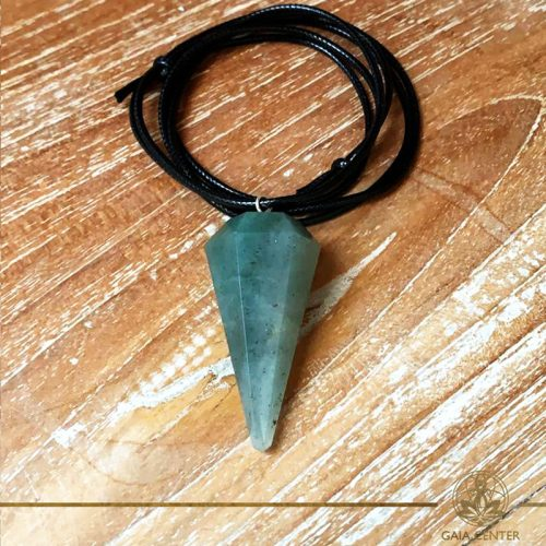 Green Aventurine faceted cone pendant on a string. Crystal and Gemstone pendants at Gaia Center in Cyprus. Worldwide delivery, shop online: https://gaia-center.com