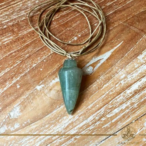 Green Aventurine cone pendant on a string. Crystal and Gemstone pendants at Gaia Center in Cyprus. Worldwide delivery, shop online: https://gaia-center.com