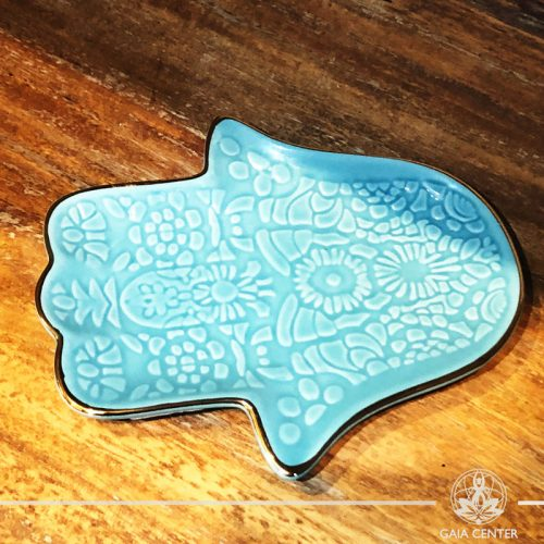 Hamsa Hand Turquoise color ceramic smudging bowls at Gaia Center in Cyprus. Shop online at https://gaia-center.com