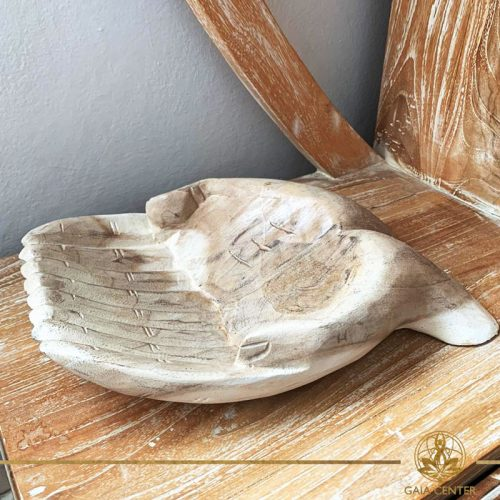 Hands wooden tray offering hands carved white wash design. Decor and spiritual items at Gaia Center in Cyprus. Shop online at https://gaia-center.com. Cyprus and Worldwide shipping.