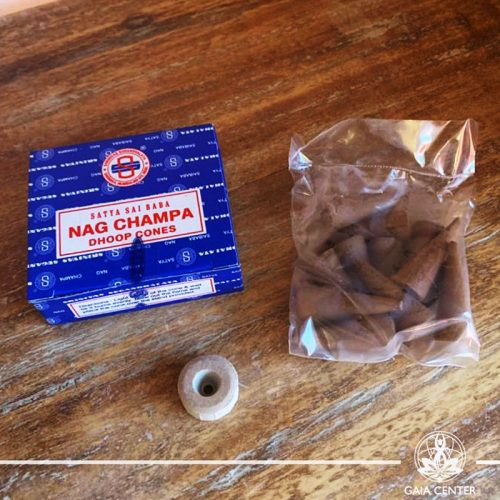 Incense cones pack Nag Champa by Satya at Gaia Center in Cyprus. Selection of natural Incense sticks and Incense holders. Cyprus delivery to: Limassol, Paphos, Nicosia, Larnaca, Paralimni, Strovolos. Including provinces and small suburbs. Europe and International Worldwide shipping. Shop online for incense sticks and holders at https://gaia-center.com