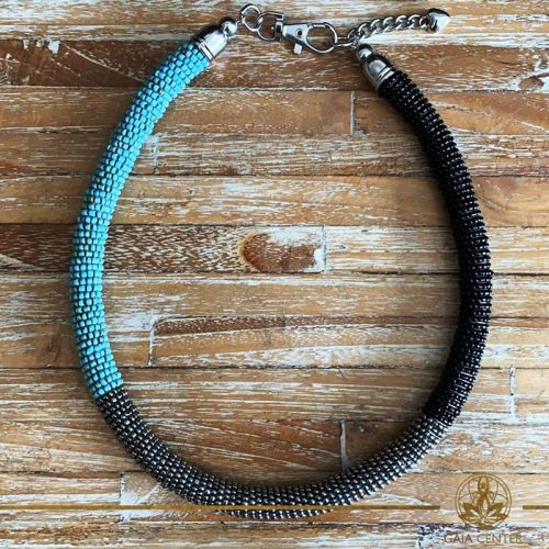 Summer necklace - ring design necklace made from beads turquoise color, silver and black color. Summer essential jewellery at Gaia Center in Cyprus. Shop online at https://gaia-center.com. Cyprus and Worldwide shipping.