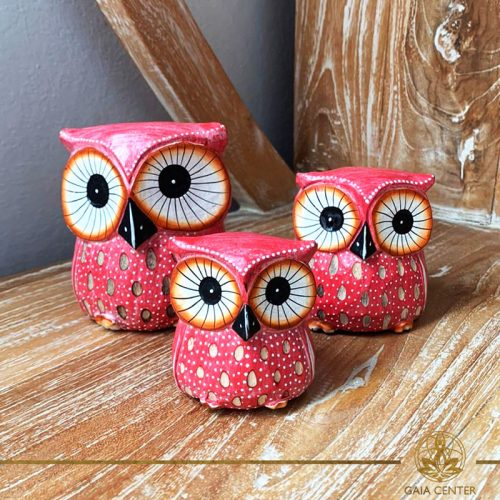 Owls wooden set hand carved white wash and pink and spiritual items at Gaia Center in Cyprus. Shop online at https://gaia-center.com. Cyprus and Worldwide shipping.