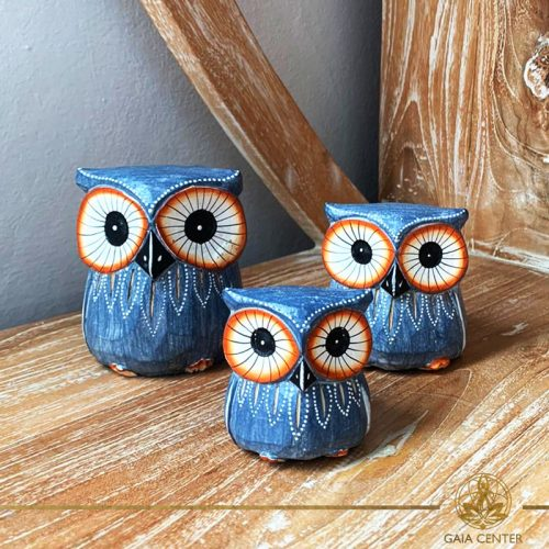 Owls wooden set hand carved white wash and blue colors. Decore and spiritual items at Gaia Center in Cyprus. Shop online at https://gaia-center.com. Cyprus and Worldwide shipping.